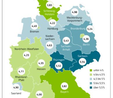 Deutschlandkarte mit Angaben der an Neurodermitis erkankten Personen